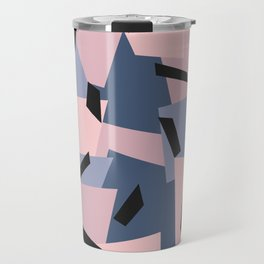 Patches Abstract Pattern Black, Blue, Pink, Gray Travel Mug