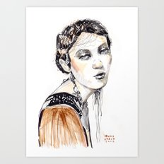 Fashion illustration with golden watercolors Art Print