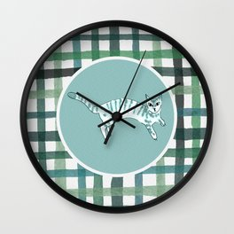 Plaid cat in cian palette Wall Clock