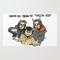 beastie boys Area & Throw Rugs featuring Where The Beastie Things Are by Derek Salemme