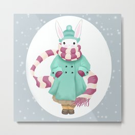 Bunny Sister Out On a Winter Day Metal Print
