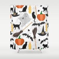 halloween Shower Curtains featuring Halloween by Julia Badeeva