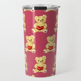 Cute Teddy Bears Pink Pattern Travel Mug