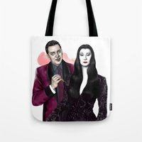 selena gomez Tote Bags featuring Gomez & Morticia by Myrtle Quillamor
