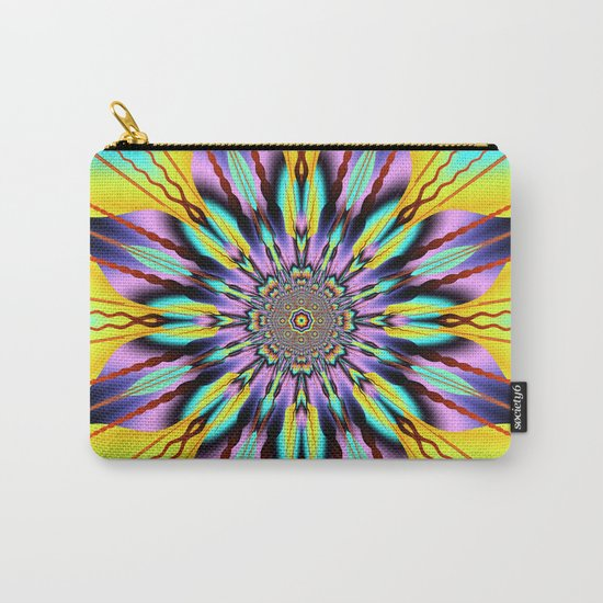 Fantasy sunflower with wavy rays and patterns Carry-All Pouch
