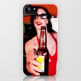 Hispanic bartender serving cold beer iPhone Case