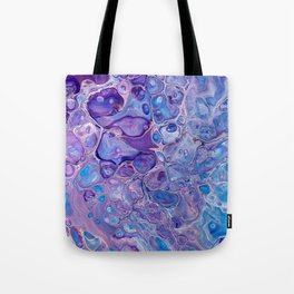 Purple Abstract Fluid Cells - Blue Details Tote Bag