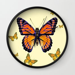 SPRING FLYING ORANGE MONARCH BUTTERFLIES ON CREAM Wall Clock