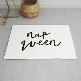 Nap Queen black and white typography poster gift for her girlfriend home wall decor bedroom Rug