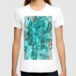 Turquoise Glass Chrystal Abstract T-shirt