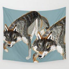 Totem Dark European Wolf Wall Tapestry