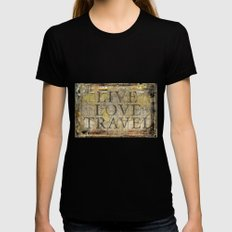 Live Love Travel Black Womens Fitted Tee X-LARGE