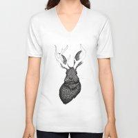 jackalope V-neck T-shirts featuring The Jackalope by ECMazur