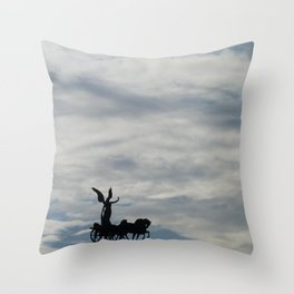 Roman angel and chariot at sunset Throw Pillow