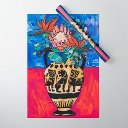 Lions and Tigers Vase with Protea Bouquet Wrapping Paper