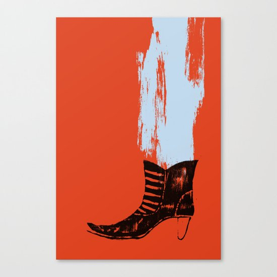 the boot goes on Canvas Print
