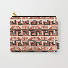 Vintage Tribal Pattern in Bold Orange, Black and Tan Carry-All Pouch