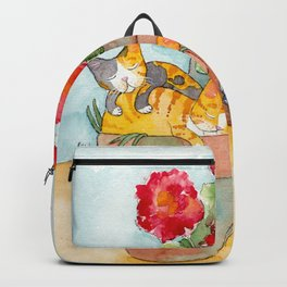 Sleeping Kitties and Geraniums Backpack