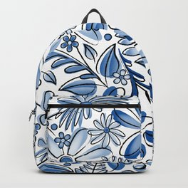 Navy Blue Flower Garden - Hand Drawn Vector Florals Backpack