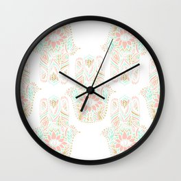 Modern girly pink mint gold Hamsa hand of fatima Wall Clock
