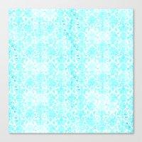 aqua Canvas Prints featuring Aqua Blue Damask by 2sweet4words Designs