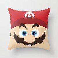 super mario Throw Pillows featuring Super Mario by Xiao Twins