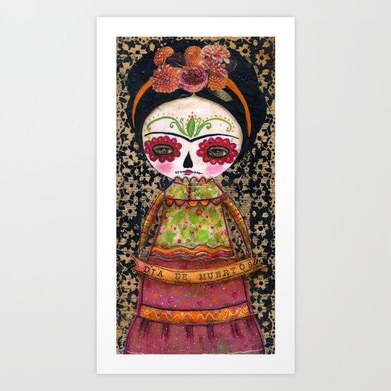 Frida The Catrina - Dia De Los Muertos Painted Skull Mixed Media Art Art Print