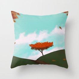 Fall/Autumn Landscape - Illustration Art #ArtofGaneneK Leaves Throw Pillow