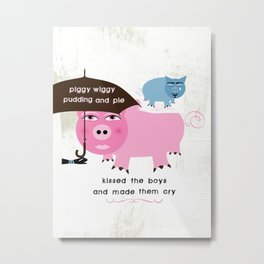 Piggy Wiggy Pudding Pie Metal Print