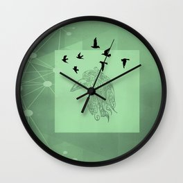 Tribal Raven: Green Wall Clock