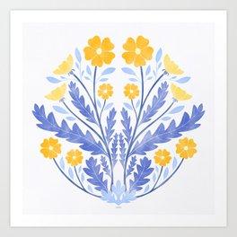 Art Nouveau Illustration / Floral / Circular / Yellow Art Print