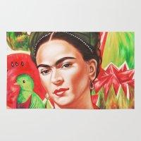 frida kahlo Area & Throw Rugs featuring Frida Kahlo  by Carlos Apartado