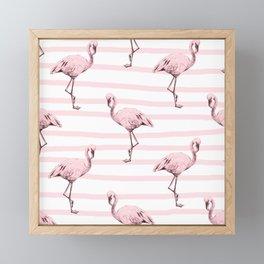 Flamingos on Drawn Stripes in Pink Flamingo Framed Mini Art Print