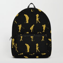 Golden Golfer Silhouette Playing Golf Sport Lover  Backpack