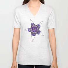 Blue/Purple Superstar Mandala Star Unisex V-Neck