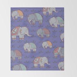 Elephants Pattern Throw Blanket