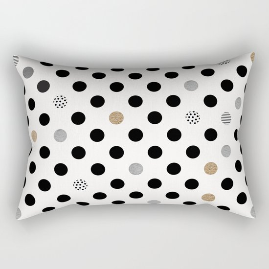 Black Dot Rectangular Pillow