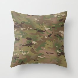 Military Woodland Camouflage Pattern Throw Pillow