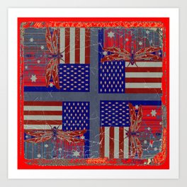 Grungy Vintage Abstracted Dragonfly-Flag 4th of July Art Art Print