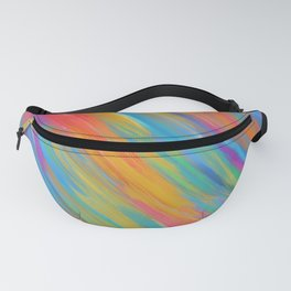 Color Overload Painting / Watercolor Hand Painted Tie-Dye Effect Gradient / Orange Yellow Blue Pink Fanny Pack