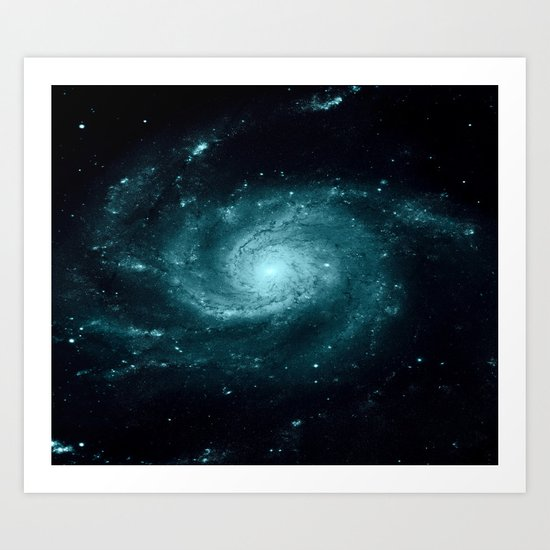 Spiral gALAxy Teal Art Print
