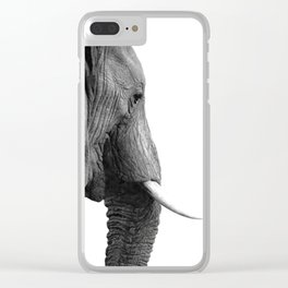 Black and white elephant portrait Clear iPhone Case