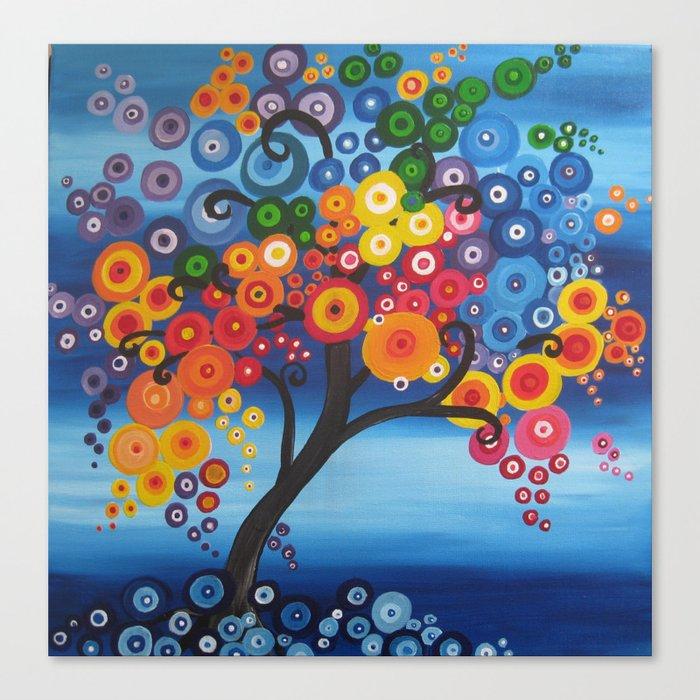 Rainbow Tree Painting Tree Of Life Bright Red Blue Yellow