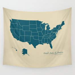 Modern Map - United States of America USA Wall Tapestry