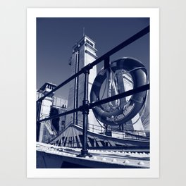 The Peterborough Lift Lock, Cyanotype Art Print