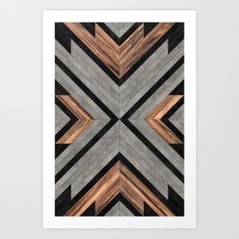 Urban Tribal Pattern No.2 - Concrete and Wood Kunstdrucke