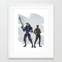 garrus Framed Art Prints featuring Shepard and Garrus by Joe Byrne
