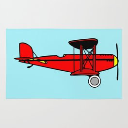 Red Biplane Rug