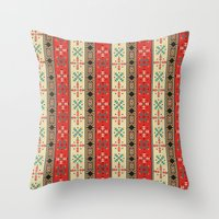 blanket Throw Pillows featuring Sioux Blanket by Robin Curtiss
