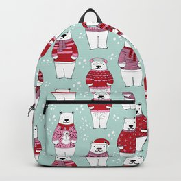 Polar Bear character cute christmas sweater polar bears nature illustration pattern Backpack